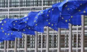 European Union flags outside the European Commission headquarters in Brussels