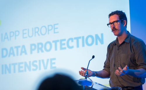 Keynote Speaker Ben Hammersley addresses the IAPP Europe Data Protection Intensive in London.