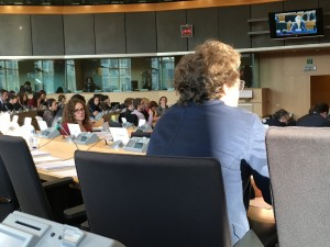 MEP Sophia in 't Veld watches MEP Jan Philipp Albrecht speak at the LIBE Committee.